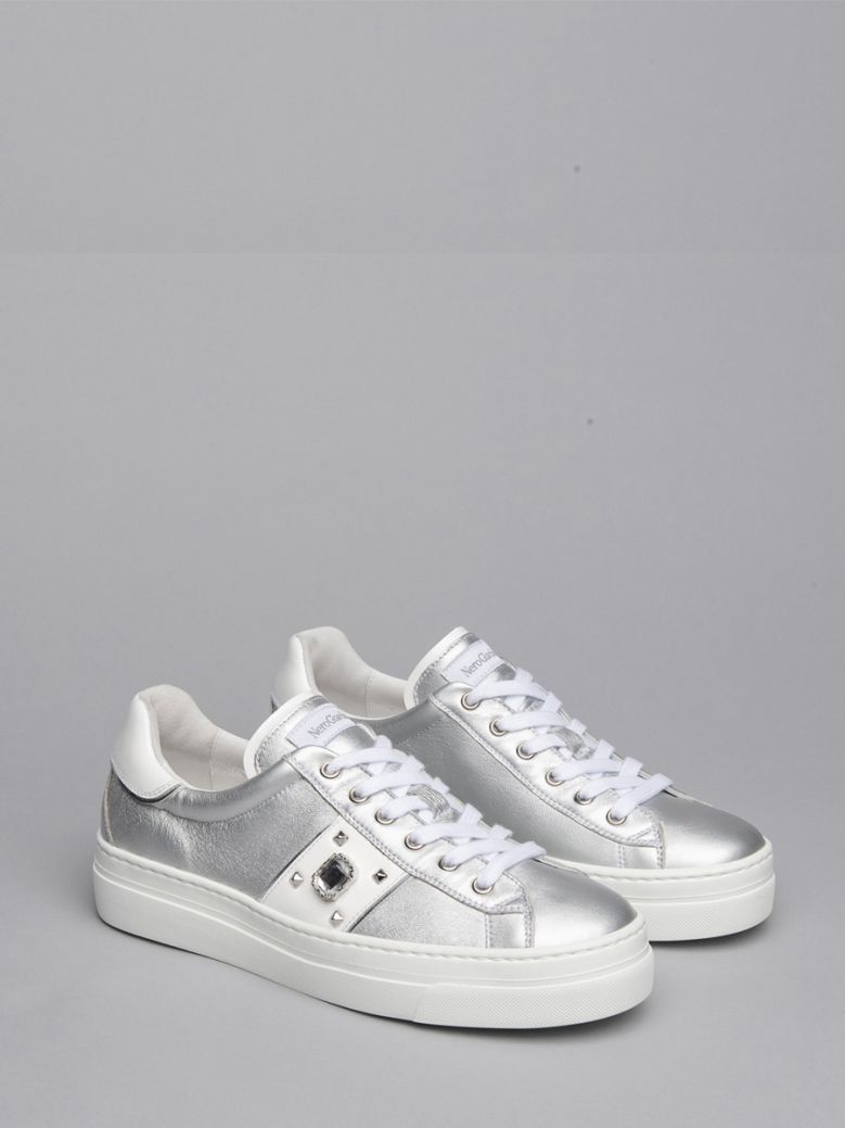 NeroGiardini Silver With White Side Stripe and  Jewel Trainers