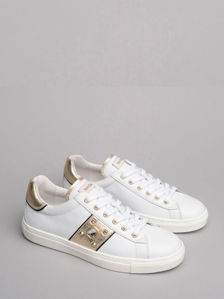 NeroGiardini White With Gold Side Stripe and  Jewel Trainers