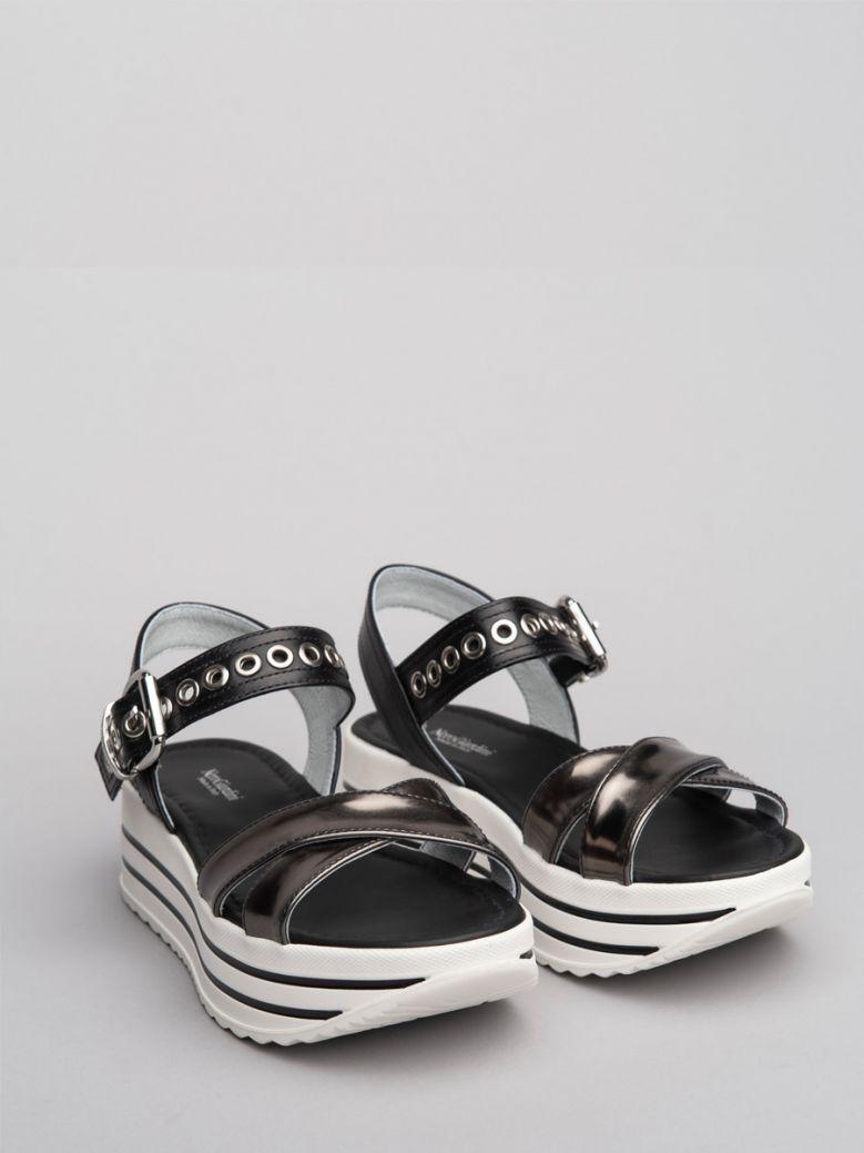 NeroGiardini Anthracite Wedge Sandals