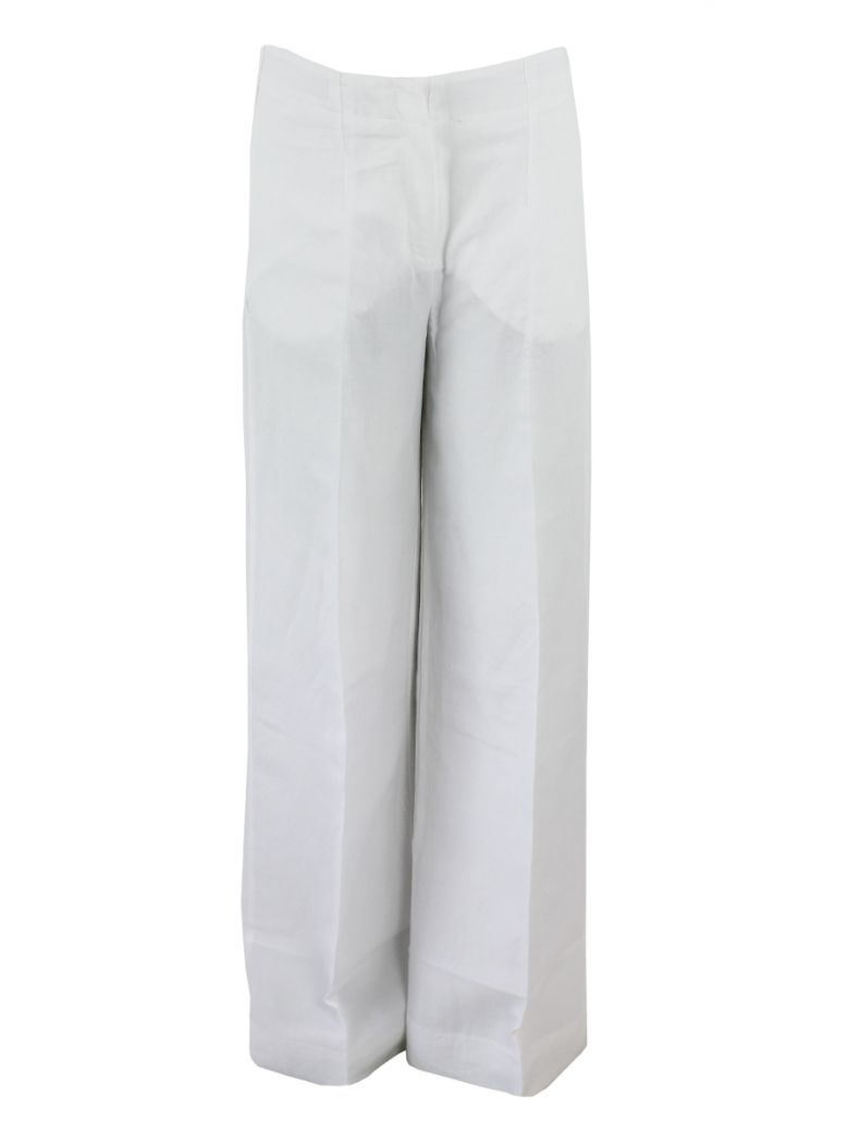 Not Is Not White Wide Leg Trousers