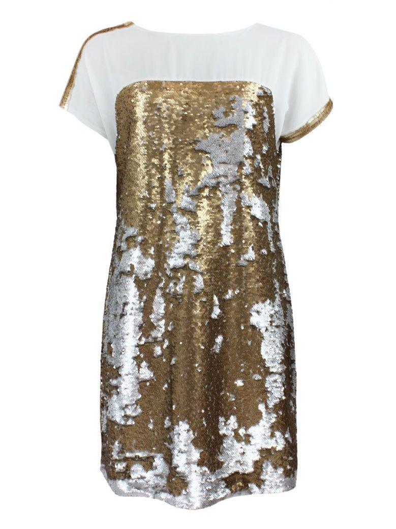Not Is Not Gold Sequin Dress