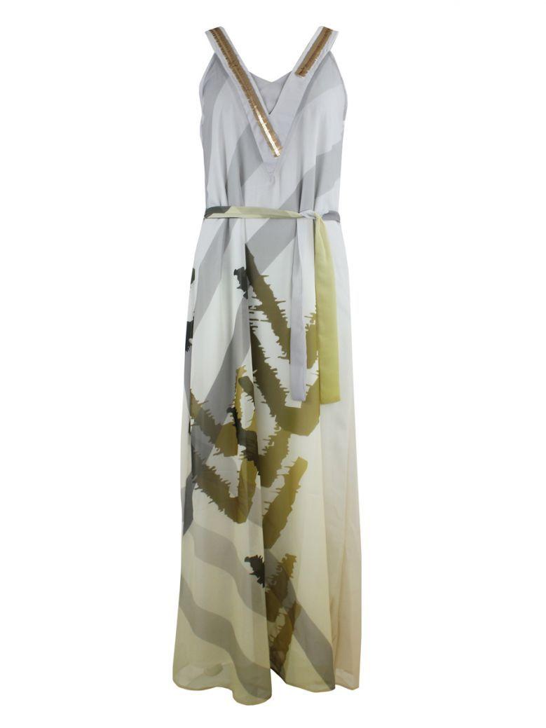 Not Is Not Cream Multi V-Neck Detailed Dress