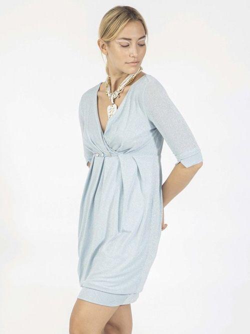 Elisa Calvaletti Cultura Metallic Blue Wrap Style Jersey Dress