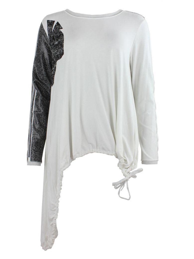 Elisa Cavaletti Cream Embellished Sleeve Asymmetrical Hem Tunic
