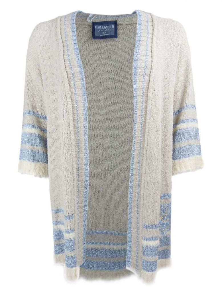 Elisa Cavaletti Beige & Blue Metallic Knit Cardigan
