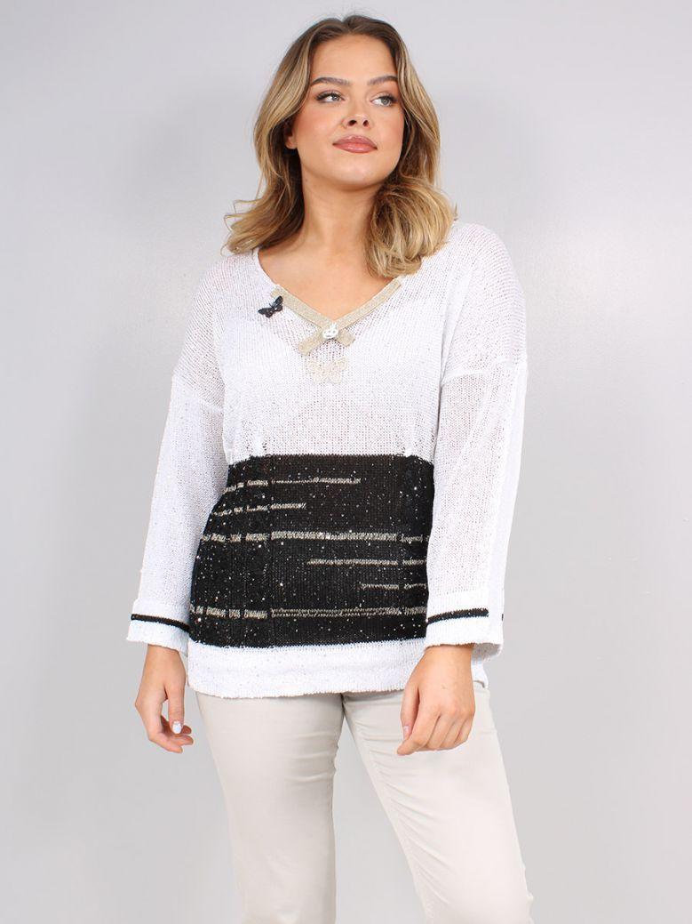 Elisa Cavaletti White and Black Knit Jumper