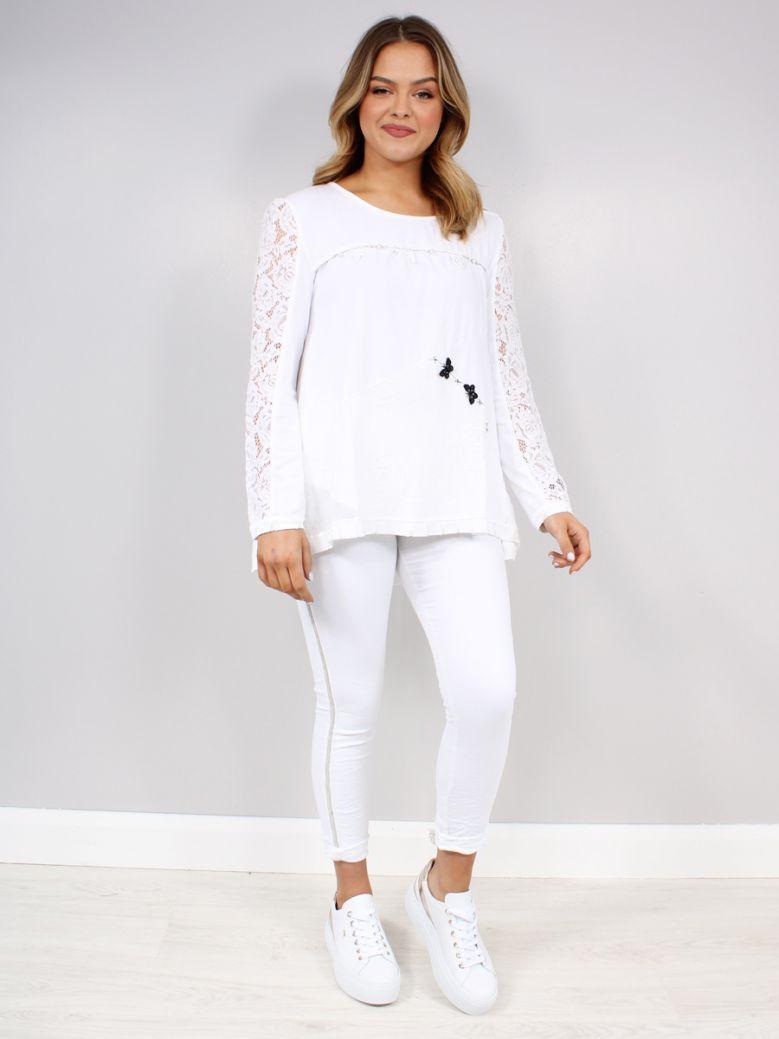 Elisa Cavaletti White Lace Detail Top