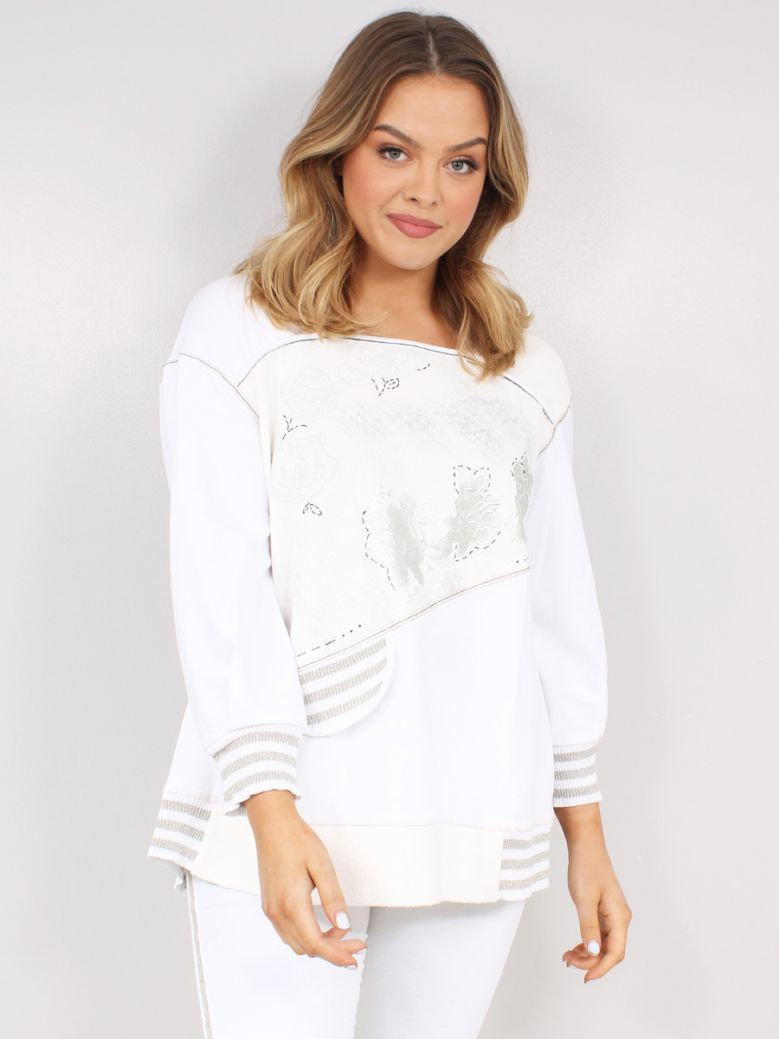 Elisa Cavaletti Ladies White Sweatshirt