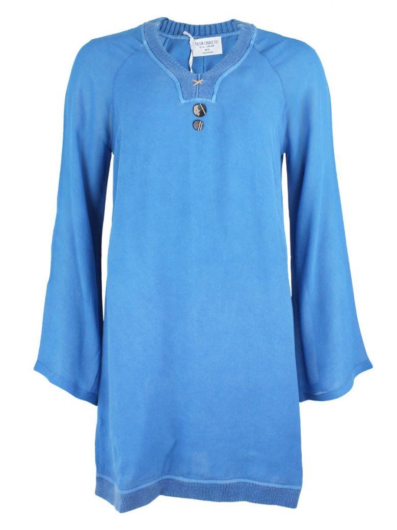 Elisa Cavaletti Blue Sheer Sleeve Tunic