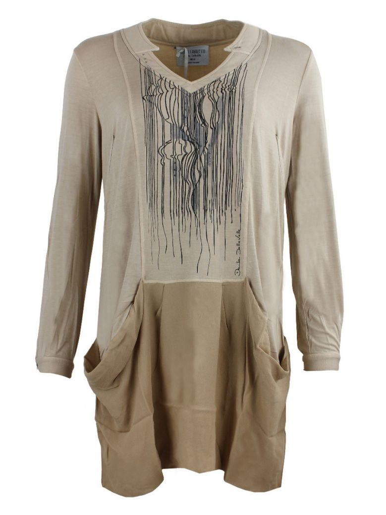 Elisa Cavaletti Brown Print Draped Tunic