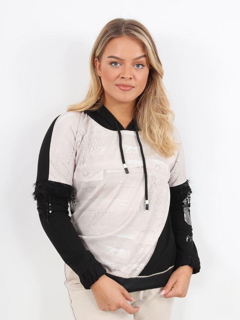 Elisa Cavaletti Abstract Hooded Sweatshirt Black