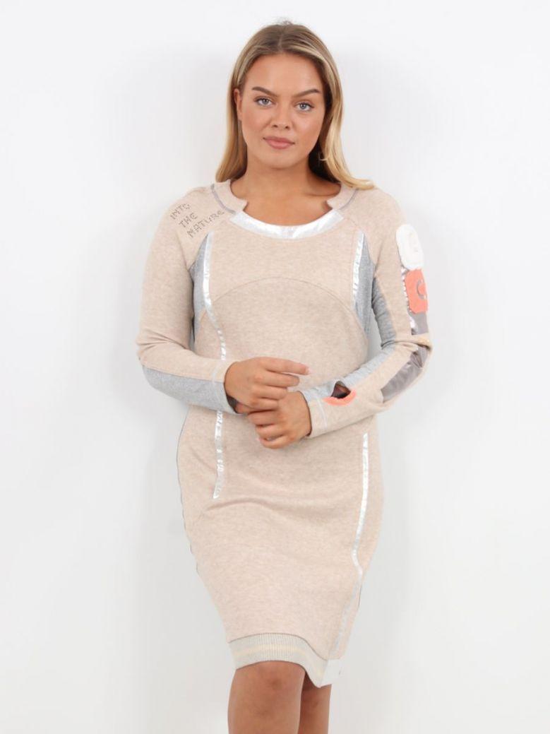 Elisa Cavaletti Long Sleeve Tunic Dress Beige