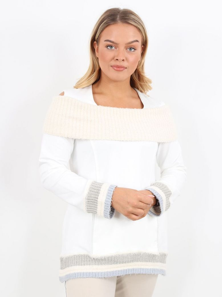 Elisa Cavaletti Off The Shoulder Sweater White