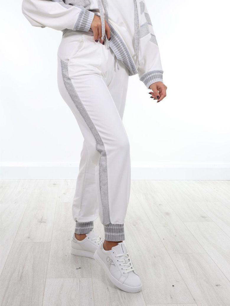 Elisa Cavaletti Silver Detail Sweatpants Cream