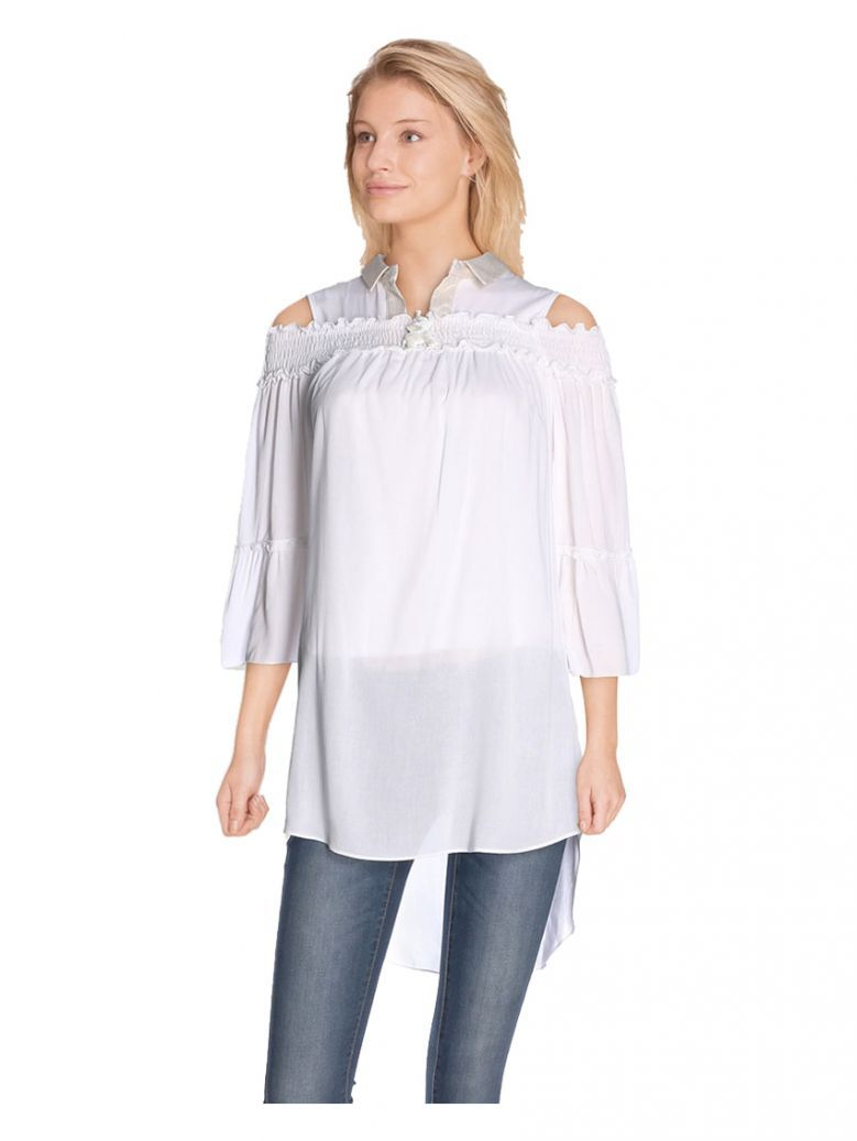 Elisa Cavaletti White And Gold Cold Shoulder Blouse