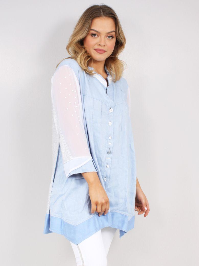 Elisa Cavaletti Ladies Light Blue Sguardo Shirt Blouse