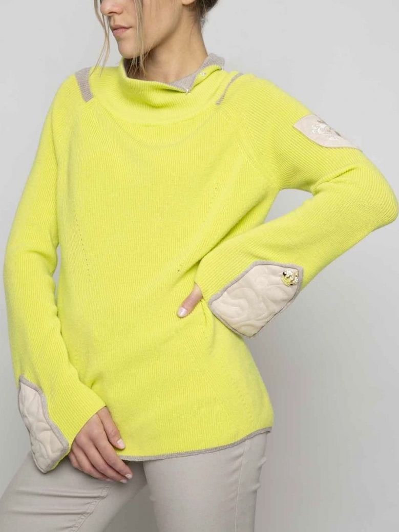 Elisa Cavaletti Lime Green Flare Sleeve Jumper