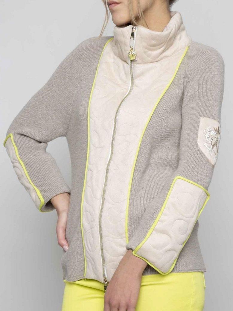 Elisa Cavaletti Beige Rib Knit Zip-Thru Jacket