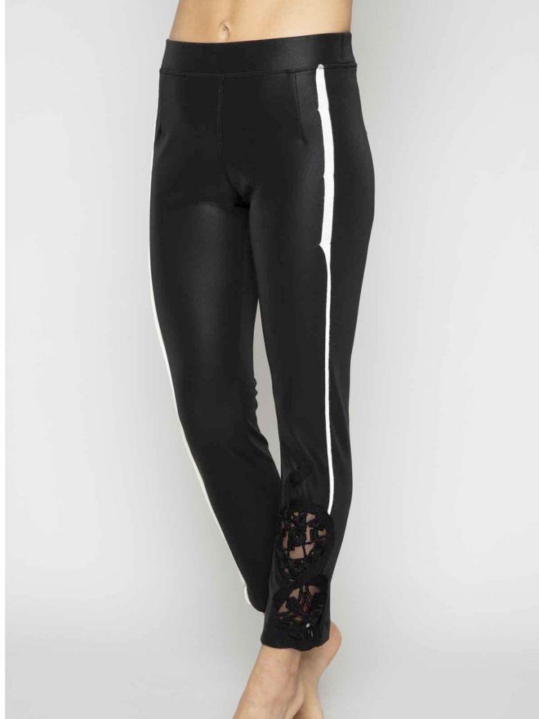 Elisa Cavaletti Black Faux Leather Leggings