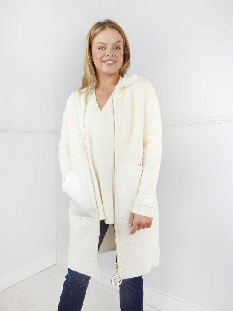 Elisa Cavaletti Cream Long Wool Zip Up Jacket