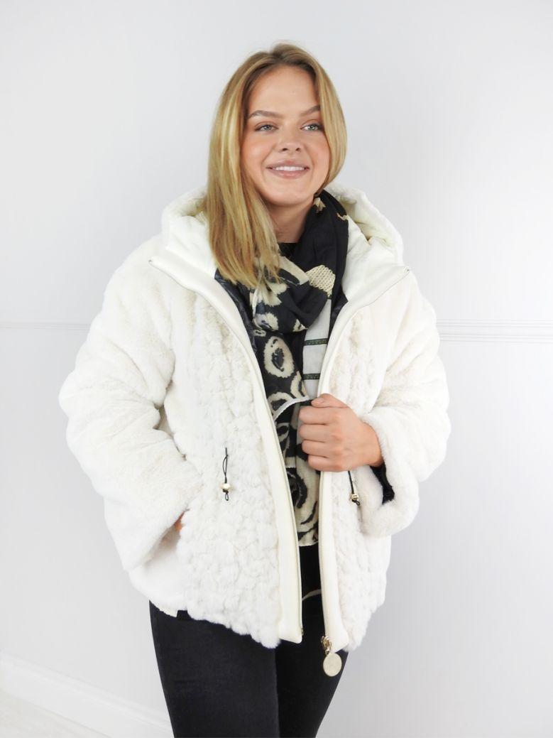 Elisa Cavaletti Cream Faux Fur Panel Coat