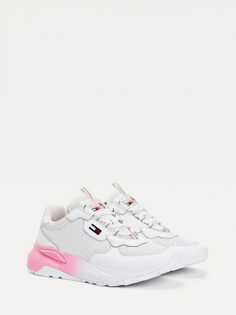 Tommy Jeans Ladies White Chunky Ombre Sole Trainers