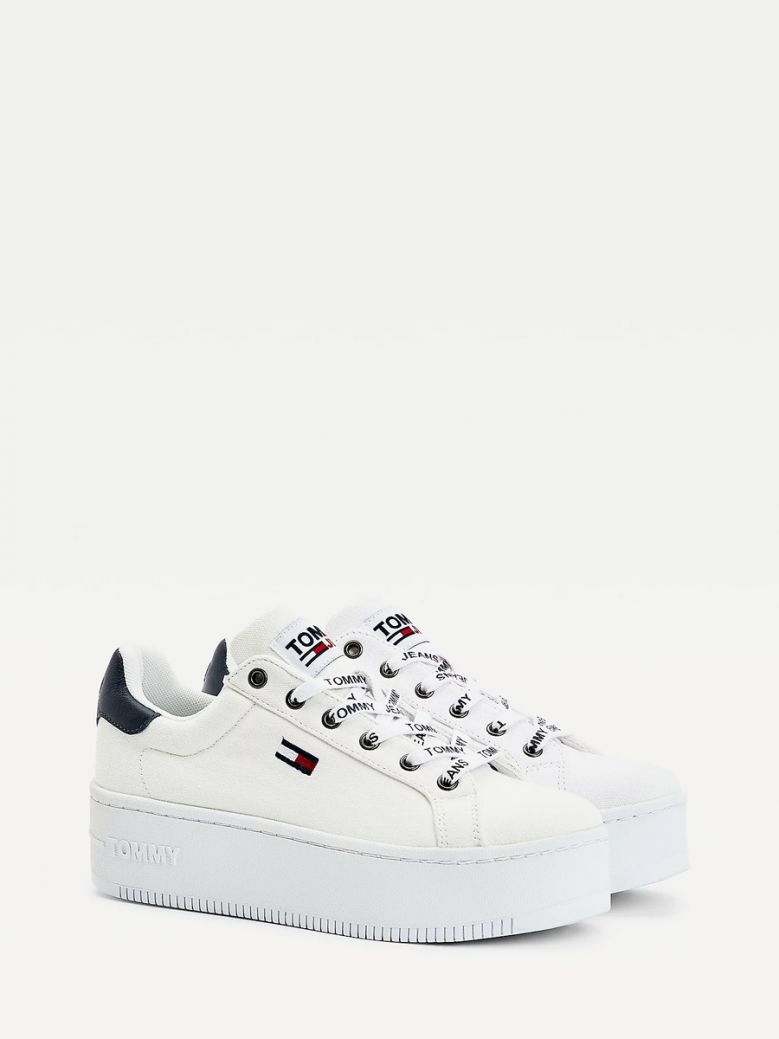 Tommy Jeans Ladies White Iconic Essential Flatform Trainers