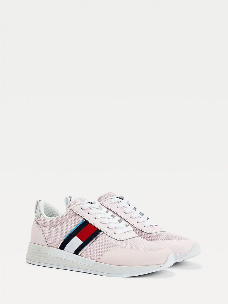 Tommy Jeans Ladies Light Pink Iridescent Flag Trainers