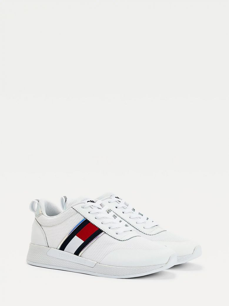 Tommy Jeans Ladies White Iridescent Flag Trainers