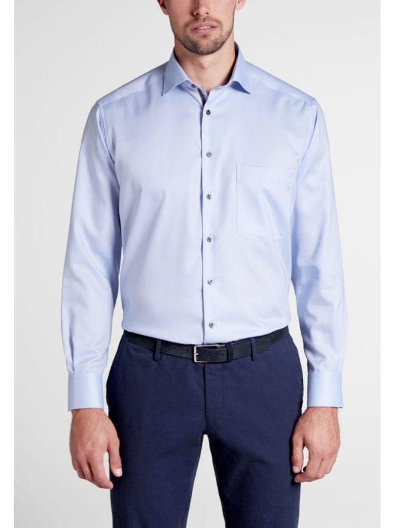 Eterna Contrast Button Slim Fit Shirt Blue