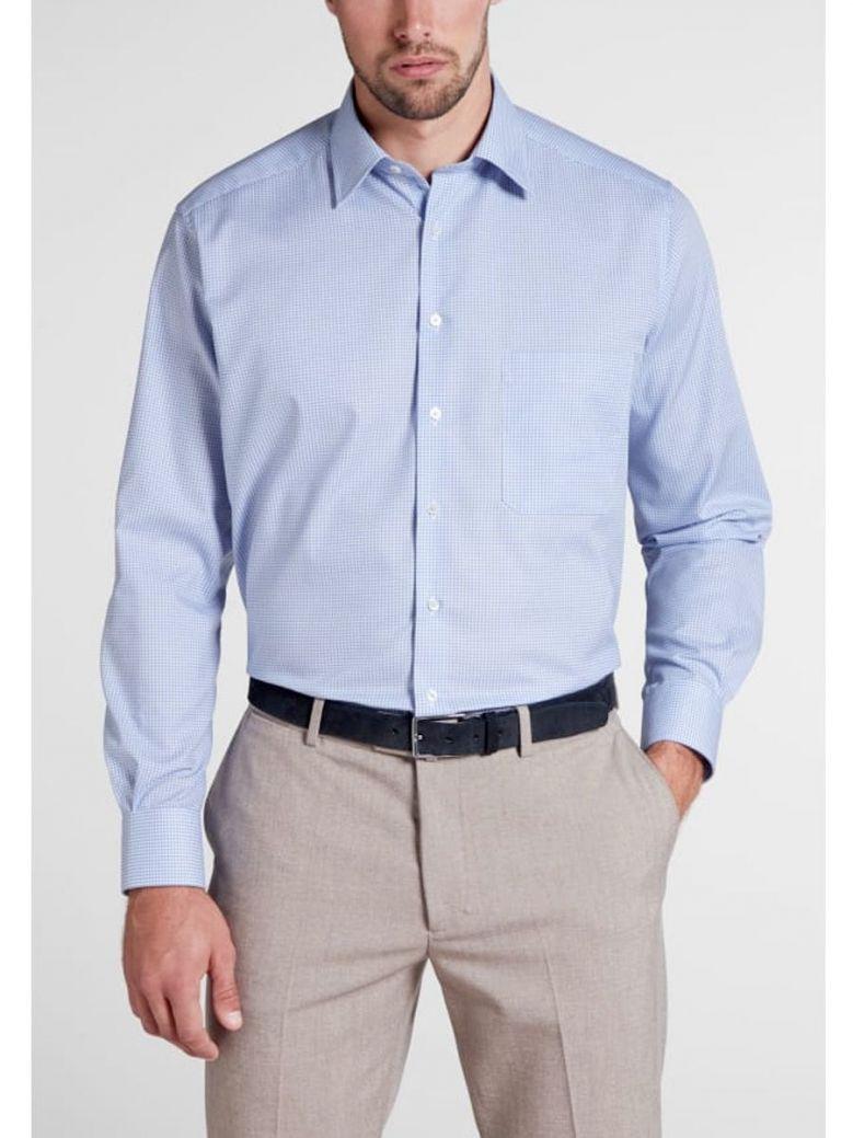 Eterna Modern Fit Checked Shirt Blue