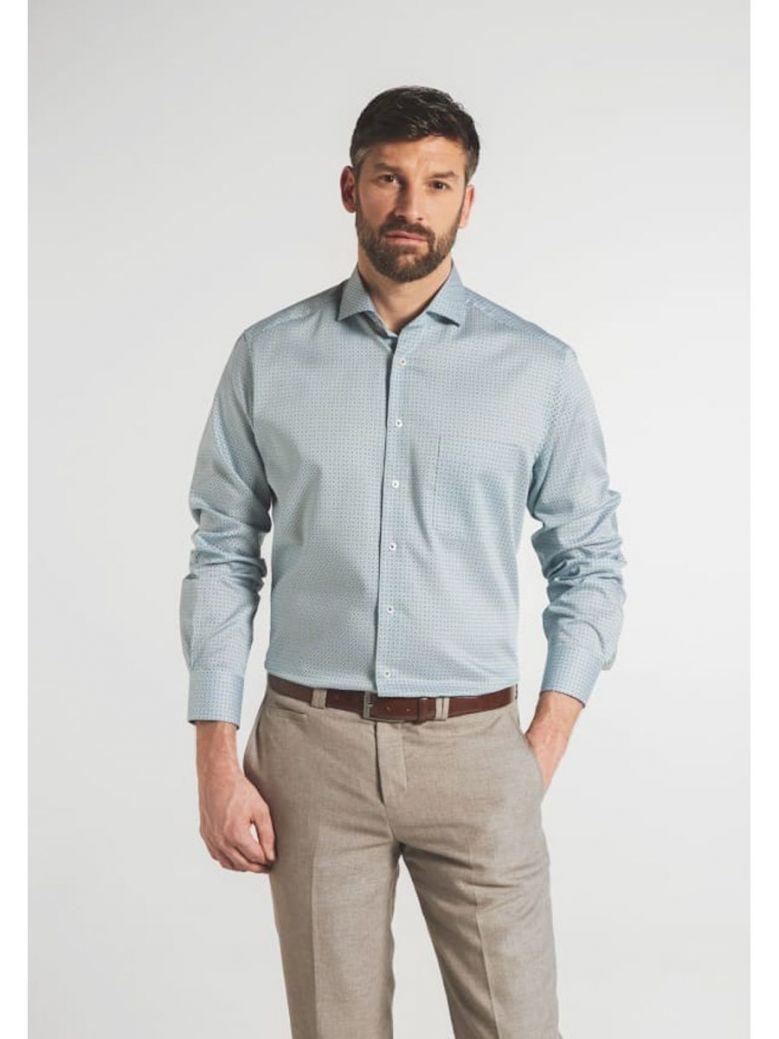 Eterna Modern Fit Printed Shirt Green