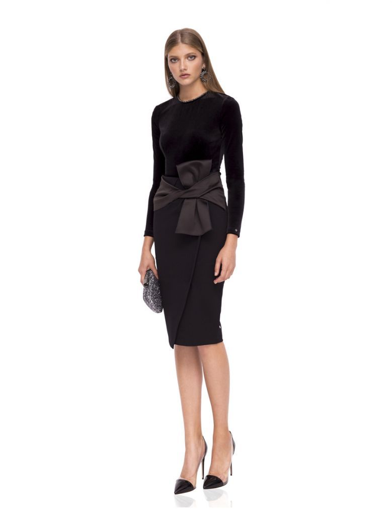 Nissa Black Bow Detailed Skirt
