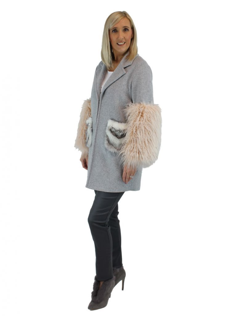 Paolo Petrone Grey And Pink Faux Fur Detailed Coat
