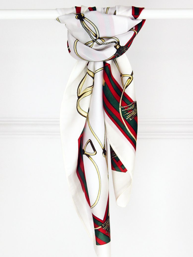 Cilento Woman Gold Chain Printed Neck Scarf