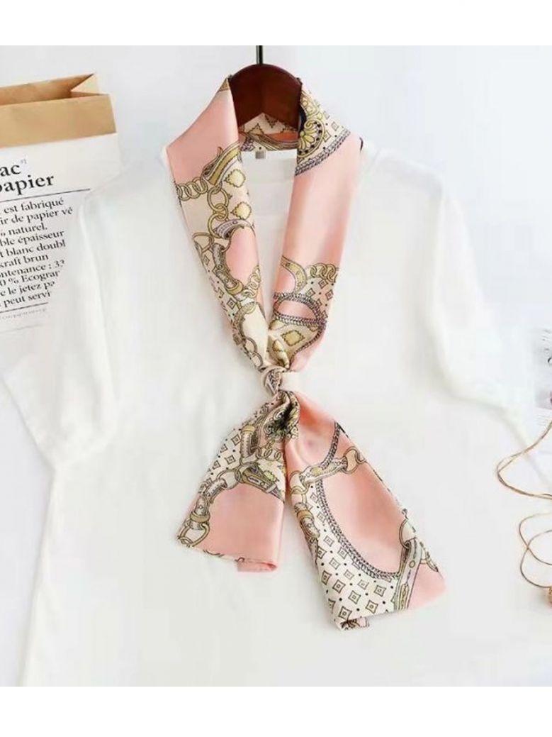 Cilento Woman Pink Chain Print Scarf