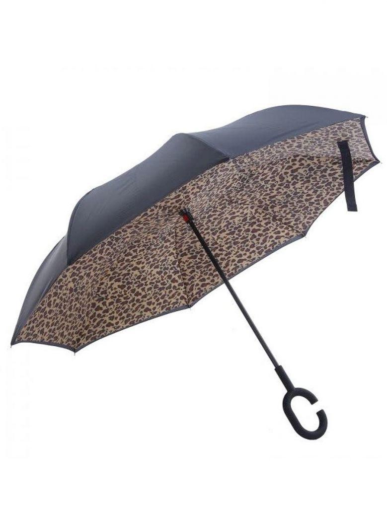 Cilento Woman Leopard Print Upside Down Umbrella