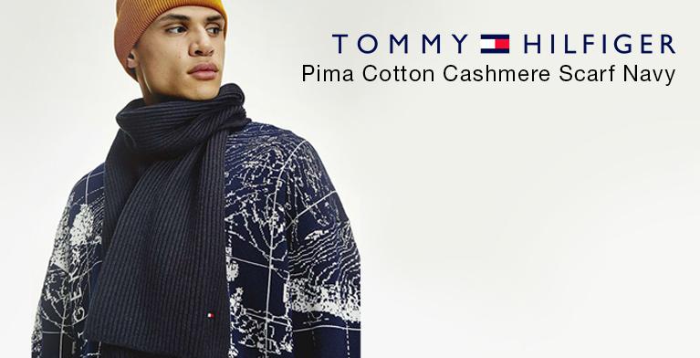 Tommy Hilfiger Pima Cotton Cashmere Scarf Navy