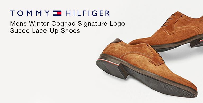 Tommy Hilfiger Mens Winter Cognac Signature Logo Suede Lace-Up Shoes