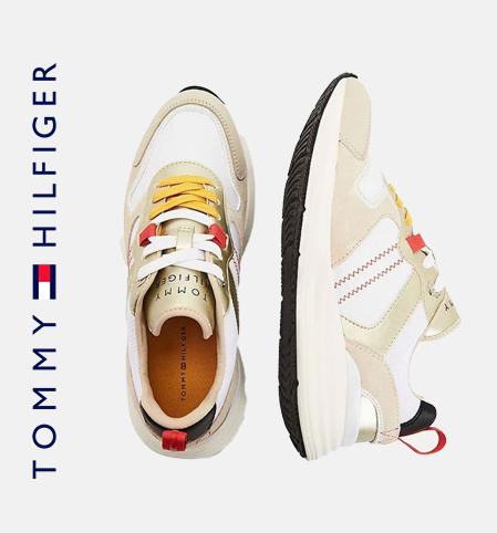 Tommy Hilfiger Retro Mixed Texture Metallic Trainers Beige