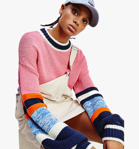 Tommy Jeans Colour-Blocked Organic Cotton Jumper Pink