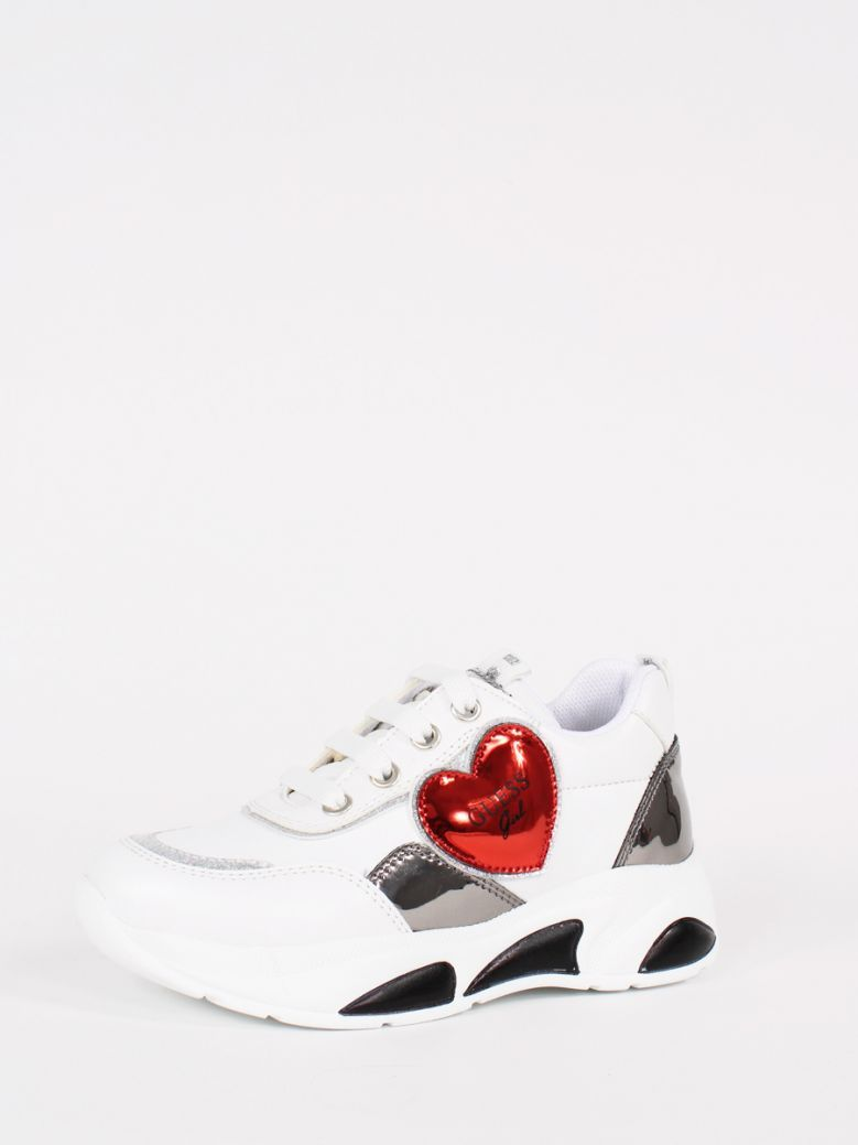 Guess White Claire Red Heart Running Shoe