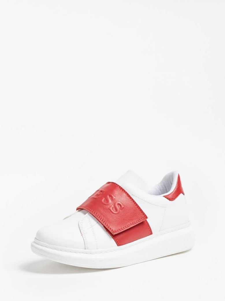 Guess Kids White and Red New Edgy Logo Sneaker