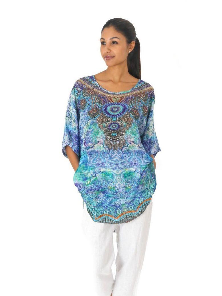 Inoa Azure Blue Half Sleeve Top