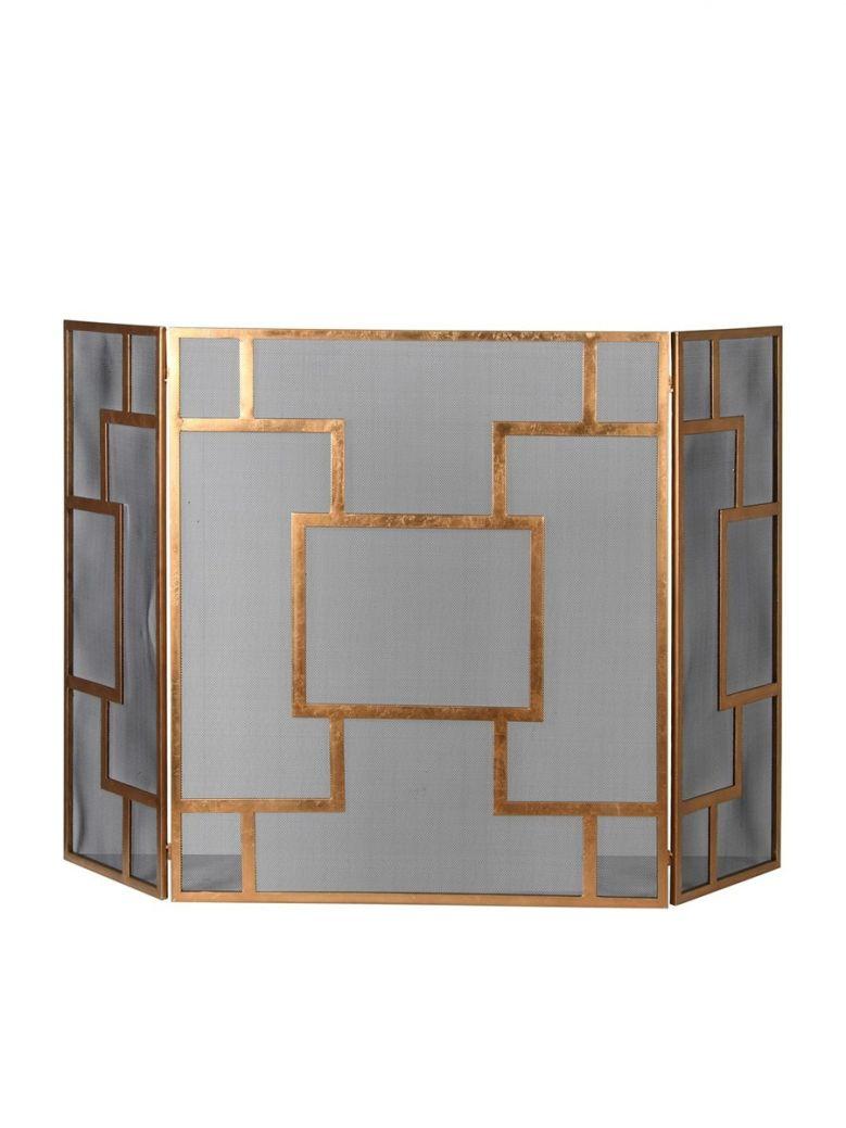 Contemporary Gold and Mesh Firescreen