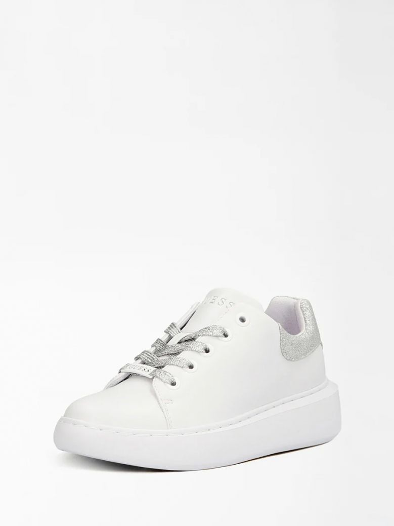 Guess White Bradly Sneaker with Silver Accents
