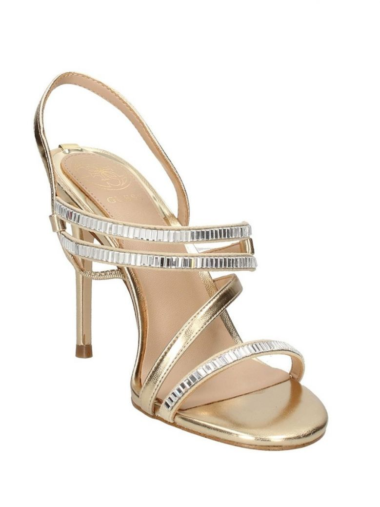 Guess Gold Strappy Heeled Sandals