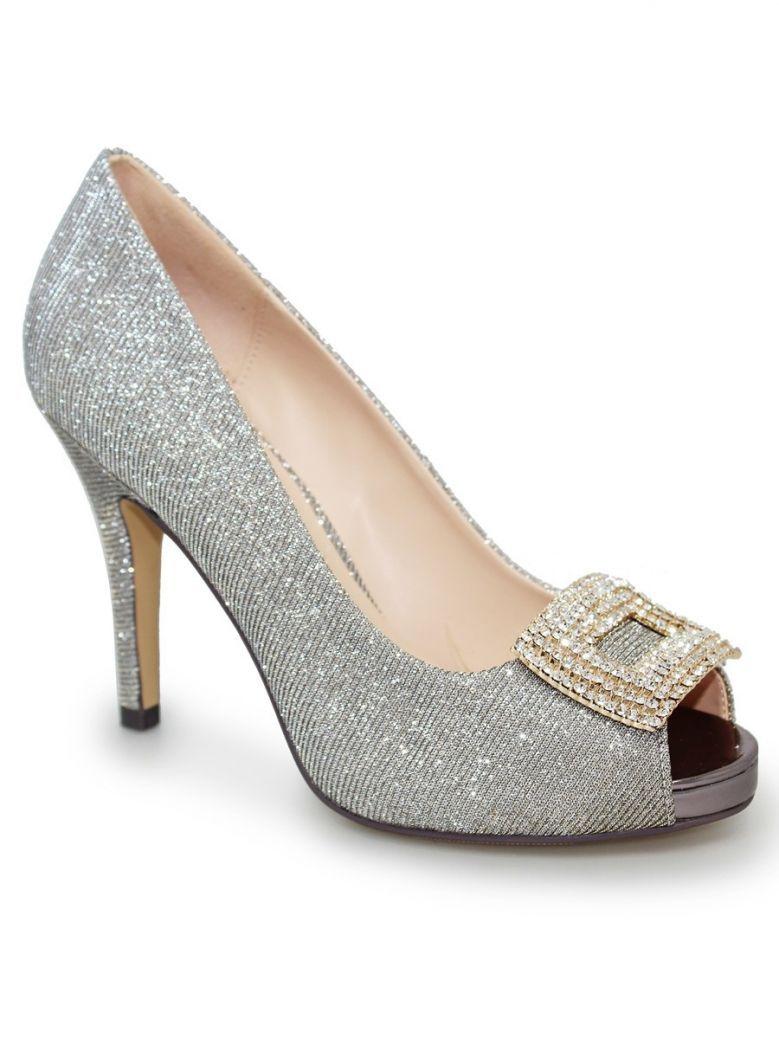 Lunar Gold Kylo Glitter Peep Toe Shoe