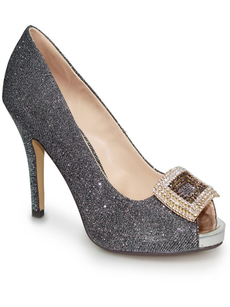 Lunar Pewter Kylo Glitter Peep Toe Shoe