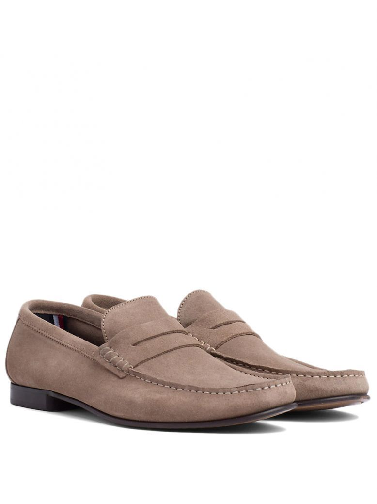 Tommy Hilfiger Taupe Grey Classic Suede Loafers